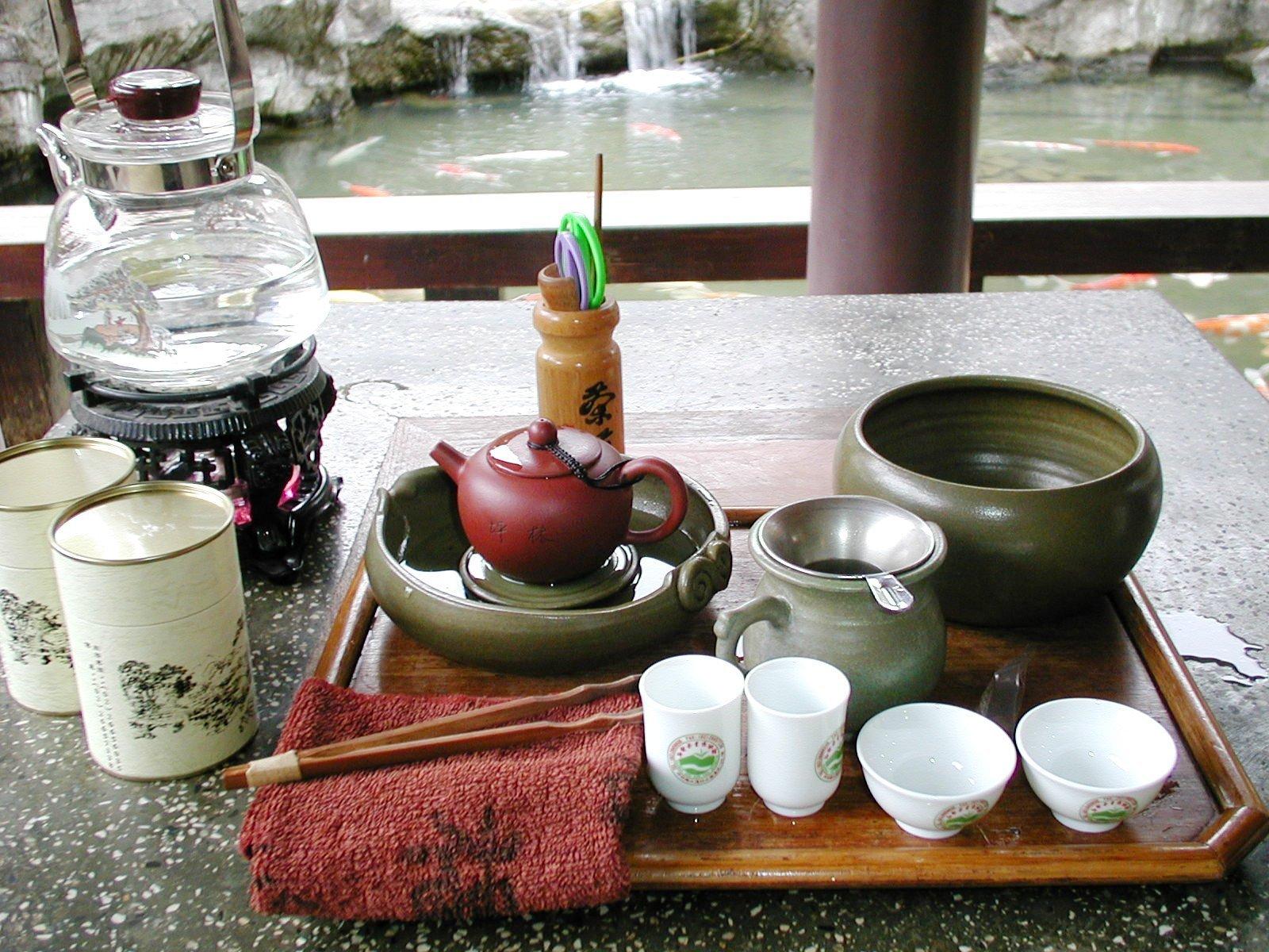 台湾の坪林の茶芸館でお茶
