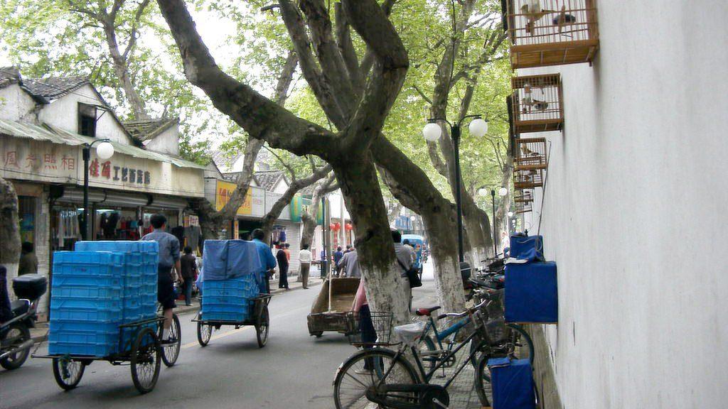 蘇州の歩道の壁に鳥籠
