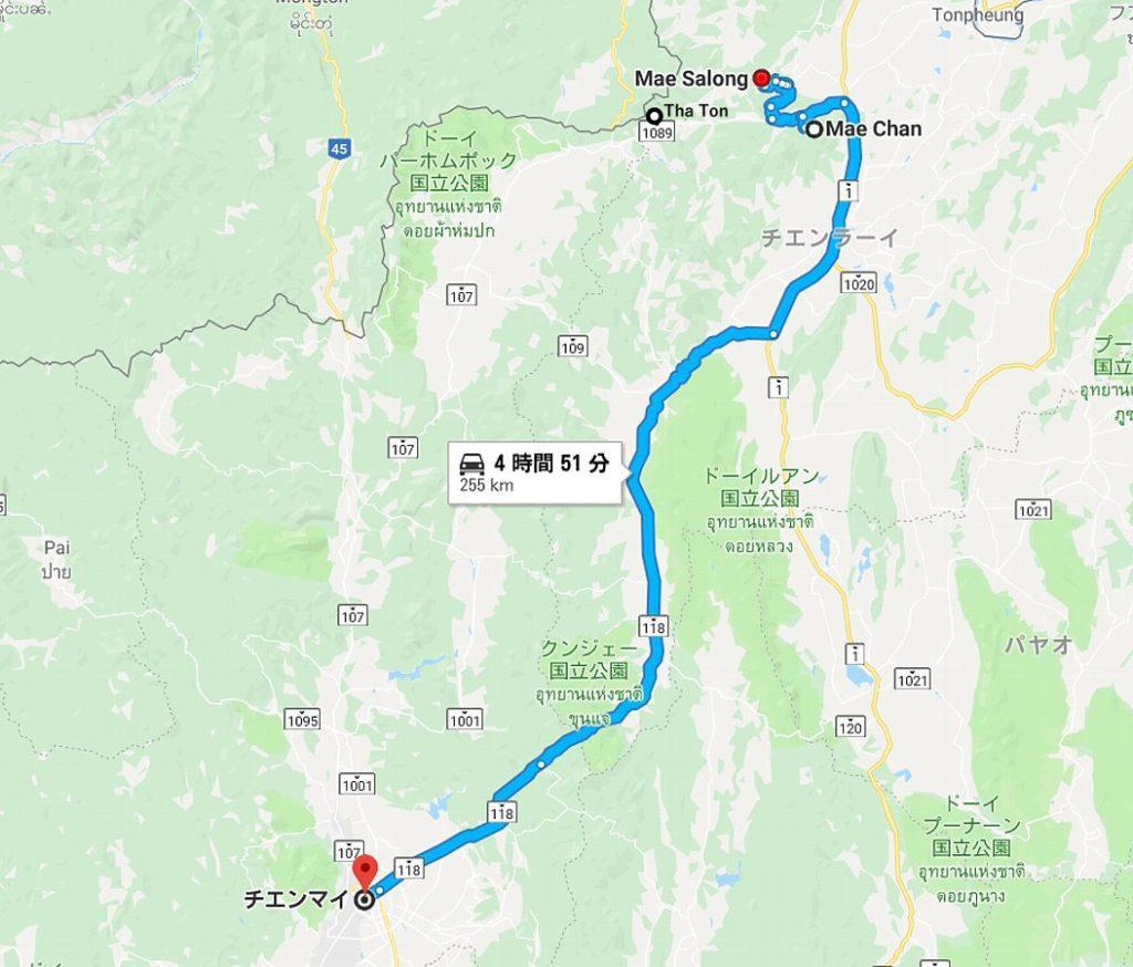 チェンマイからメーサロンの地図