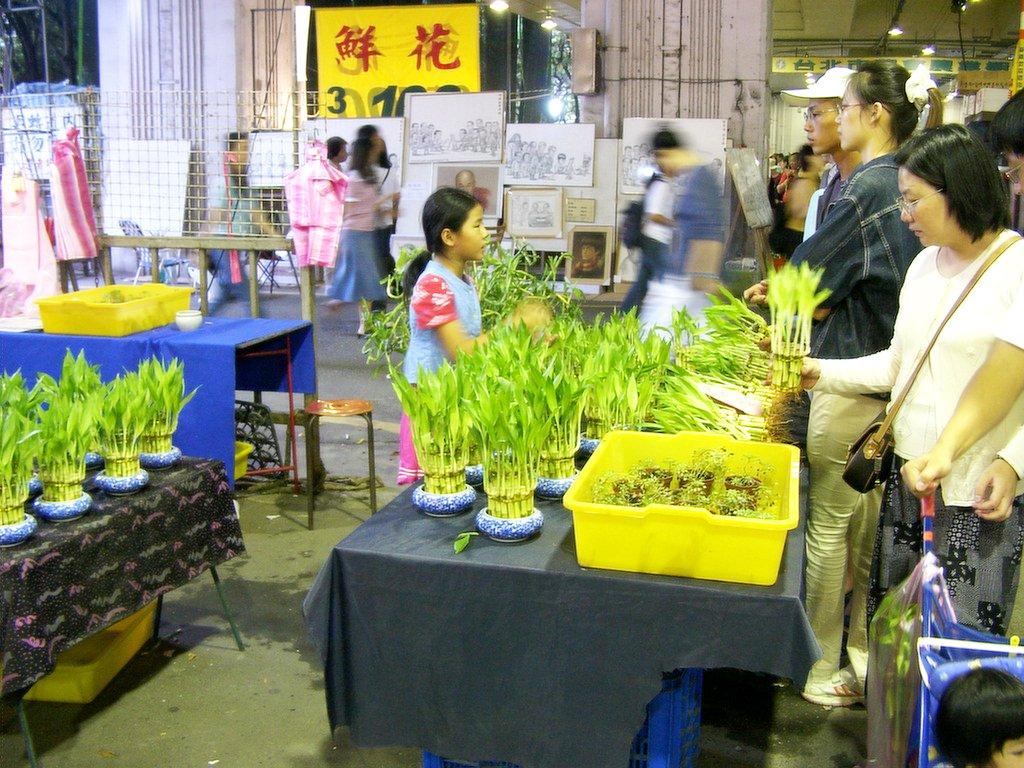 台北の花市でラッキーバンブーを売る女の子